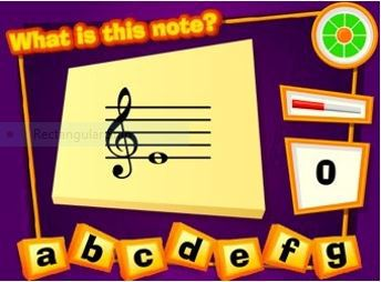 Online games to help students learn the names of the lines and spaces on the music staff