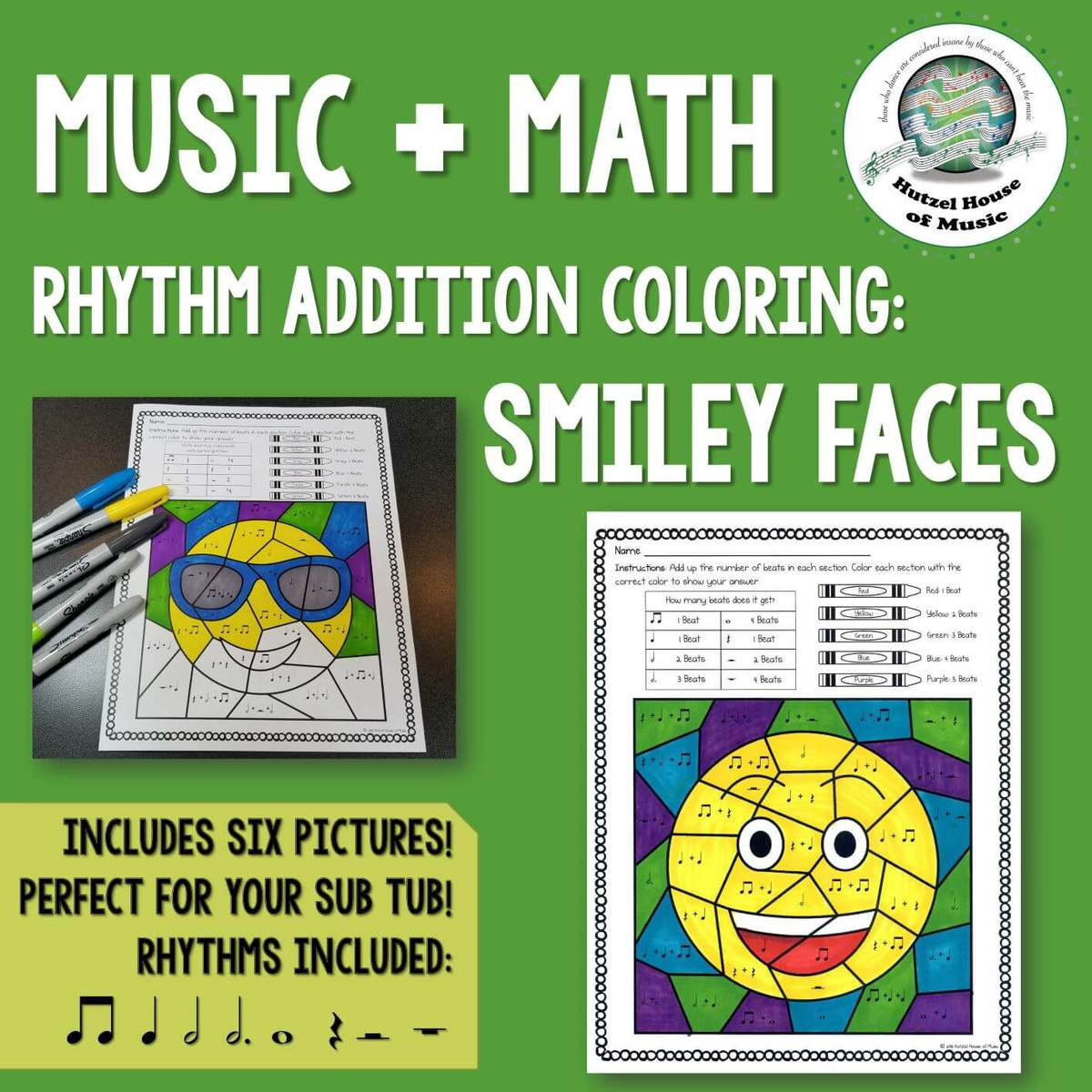 Emoji Music + Math Rhythm Coloring